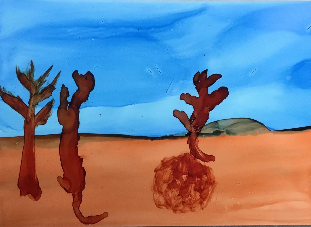 Dogs dancing in the desert